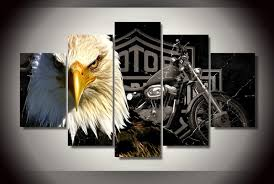 Unframed Hd Printed Eagles Motorcycle <b>Canvas</b> Painting on the ...