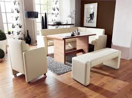 dining room bench seating: modern styled seat dining room bench in white theme made of upholstered