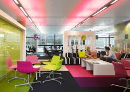 charming interior office design with pink led lighting ceiling also pink rug under white table also best lighting for office
