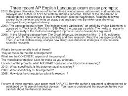 ap language essay prompts   genetta if you want to get ahead  get    ppt three recent ap english language exam essay prompts