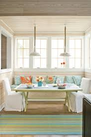 farmhouse kitchen breakfast room banquette seating
