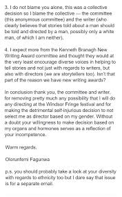 Female theatre director has amazing response to job rejection ... Director's response after being rejected from a job because she was a woman