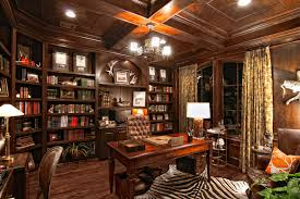 full size of office chandelier above maple desk and brown tufted chair beside tidy oak bookshelves boss workspace home office