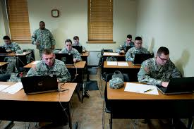 cadets test critical thinking as a part of training advanced camp second regiment clc cadets sit behind laptop computers as they take the miller analogy test