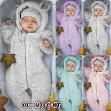 <b>2019 Newborn Baby</b> Winter Fashion <b>Cute</b> Bear Jumpsuit Pure ...