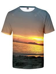<b>Men's</b> T-<b>shirt Creative</b> 3D Beach Sunset Print <b>Short Sleeve</b> Sale ...