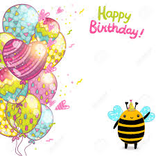 happy birthday card background a bee vector holiday party happy birthday card background a bee vector holiday party template stock vector 29315652
