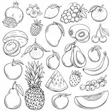 Sketch fruits and berries icons set. <b>decorative retro style</b> collection ...