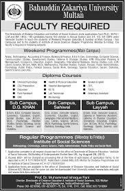 faculty required job bahauddin zakariya university job multan