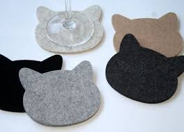 cat drink coasters cat lover gift for pet lover 5mm wool felt crazy cat lady fun cute coaster set eco friendly hostess housewarming gift cat lovers 27 diy
