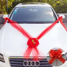 <b>Wedding Car Flower</b> 5M Ribbons Plate 10 Bows Door Handle ...