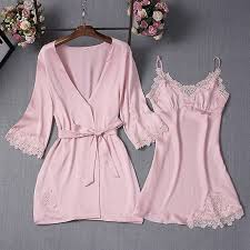 Ladies Home Clothing <b>Satin</b> Nightwear Sets Women <b>Pajamas</b> Robe ...