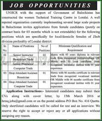 senior instructor beautician trade computer trade shop attendant assistant becautician jobs in unhcr government of balochistan beautician jobs