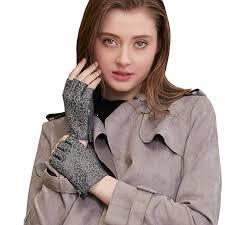 GSG Womens Vintage <b>Genuine Leather Half Finger</b> Gloves Zipper ...