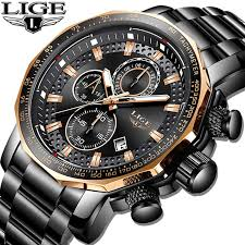 LIGE <b>Fashion Mens Watches</b> Top Brand Luxury WristWatch Quartz ...