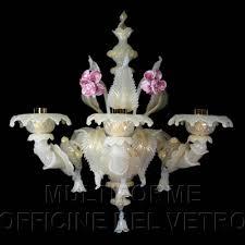 Lampadario Murano Rosa : Applique luci in vetro artistico colore bianco seta e oro con