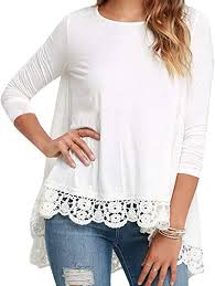 CFD Womens Loose Grace <b>Lace Edge Long Sleeve</b> Top T-Shirt ...