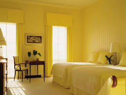 paint decor themes cool  bedroom yellow wall paint double bed cover bed table cushion armchair