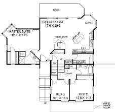 Contemporary Sloping Lot House Plan   LD   st Floor Master    Floor Plan