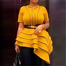 African Women <b>Yellow</b> Blouses <b>Party Summer</b> Short Sleeve Tops ...