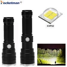 XHP50 Powerful <b>LED Flashlight</b> Zoomable Torch Waterproof ...