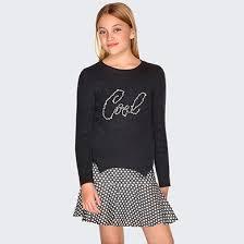 Комбинированное <b>платье для девочки</b> Темно-серый - <b>Майорал</b>