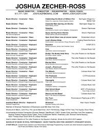 joshua zecher ross resume click to view full resume including list of concert and readings and complete list of shows played