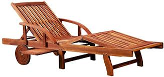 Garden Deck Chair <b>Sun Lounger Solid Acacia</b> Wood Daybed ...