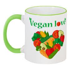 <b>Кружка</b> с цветной ручкой и ободком Vegan love #1548509 в ...