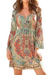 ZXZY - ZXZY Boho Style <b>Women Dress</b> Long Sleeve Beach <b>Summer</b> ...