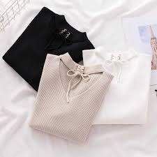 2019 Summer Vogue Knitted Button T shirt Women Turtleneck Short ...