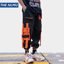 Multi Pockets Ribbons Design Joggers Cargo Harem <b>Pants</b> ...