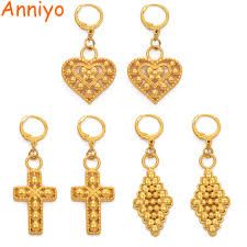 <b>Anniyo</b> Heart Rhombus Cross <b>Earrings</b> for Women Girls Gold Color ...