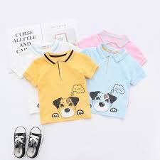 2019 Summer <b>Boys polo shirt kids cartoon</b> dog letter printed casual