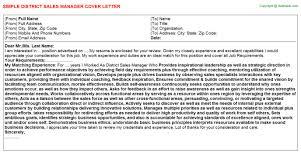 sales manager job titledistrict sales manager cover letter