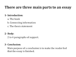 exploring the essay there are three main parts to an essay   there are three main parts to an essay   introduction a the hook