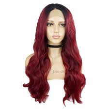 Long Middle Part <b>Ombre</b> Wavy Lace Front <b>Synthetic</b> Wig