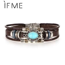 IF ME <b>Vintage</b> Big Blue Stone Bead <b>Bracelet</b> Woven <b>Punk Leather</b> ...