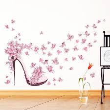 Fashion <b>High Heel</b> Shoes Flying Butterflies Heart Flower Wall ...