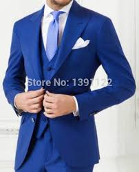 2018 <b>Custom made Royal Blue</b> wedding suits 3 pieces Men ...