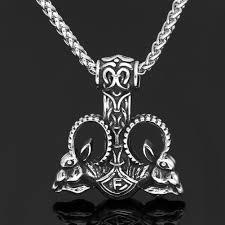 Men <b>stainless steel</b> nordic <b>viking</b> amulet goat thor <b>hammer</b> Mjolnir ...
