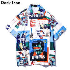 <b>Dark Icon Vintage</b> Street Shirt Men 2019 Summer Turn down Collar ...