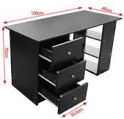 3 drawer black computer desk home office table workstation furniture black office table