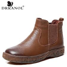 <b>DRKANOL</b> New Arrival Vintage Genuine Leather <b>Boots Women Flat</b> ...