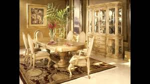 dining table parson chairs interior: elegant pedestal dining table by aico furniture with antique parson dining chairs and cozy loloi rugs