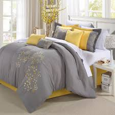 yellow and gray bedroom: geo floral grey and yellow bedding