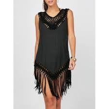 [41% OFF] 2020 <b>Sleeveless Fringed Cover Up</b> Dress For Beach In ...