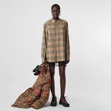 Chain Detail Vintage Check <b>Cotton Flannel</b> Shirt in Archive Beige ...