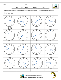 Telling Time Clock Worksheets to 5 minutestelling time clock telling the time to 5 min 2