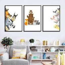$2.99 <b>Cartoon Lovely Animal</b> Print Fox Giraffe Wall Art Poster ...